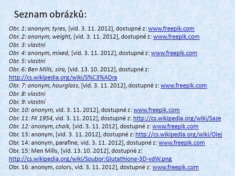 Seznam obrázků: Obr. 1: anonym, tyres, [vid. 3. 11. 2012], dostupné z: www.freepik.com.